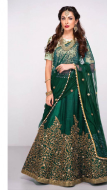 Bottle Green Embellished Lehenga With Contrast Mint Blouse